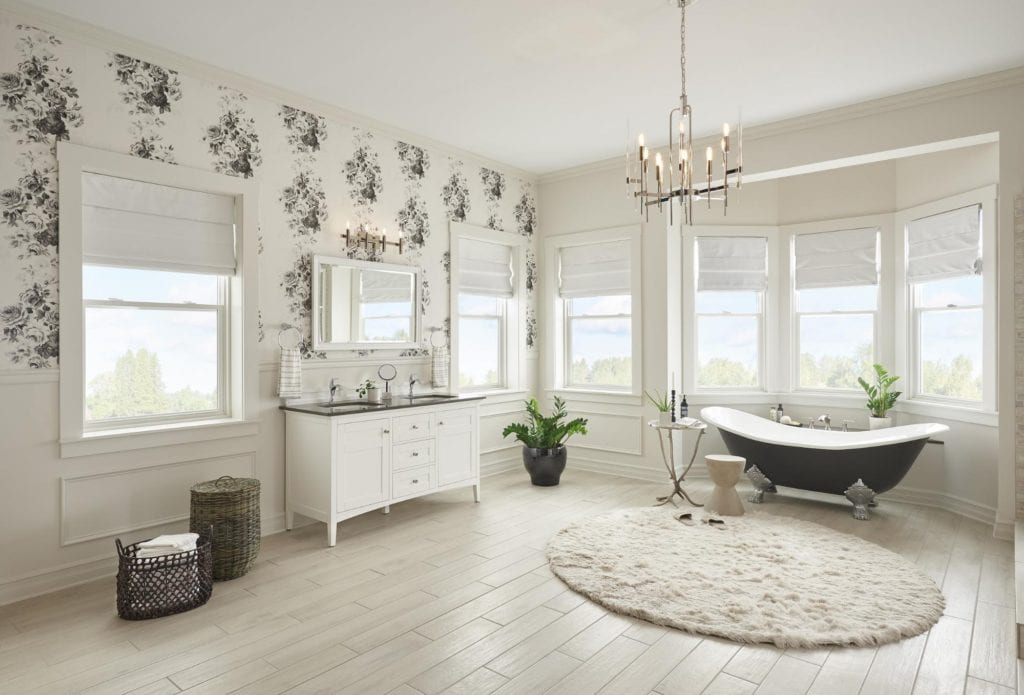 Paradigm's double hung windows in a renovated bathroom with a clawfoot tub
